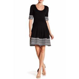NWOT Nina Leonard Scoop Neck Print Dress